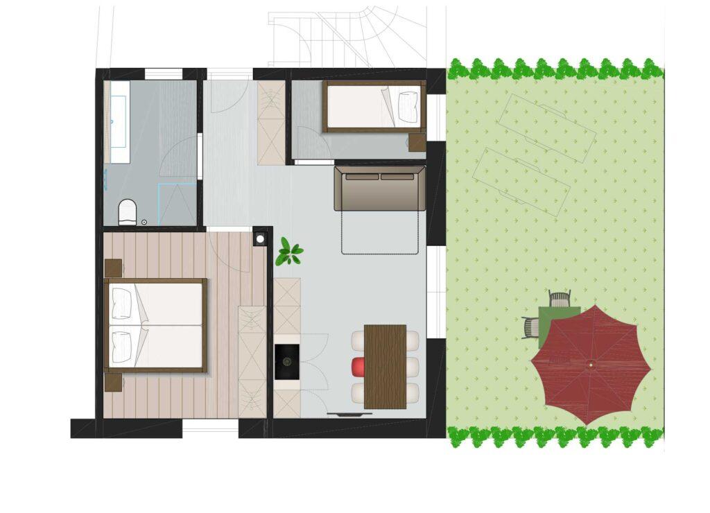 Garten-Apartment-Grundriss